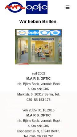 Vorschau der mobilen Webseite www.marsoptic.de, M.A.R.S. Optic G.b.R.