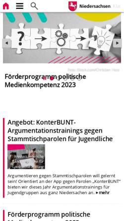 Vorschau der mobilen Webseite www.demokratie.niedersachsen.de, Niedersächsische Landeszentrale für politische Bildung (NLpB)