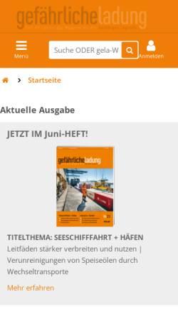 Vorschau der mobilen Webseite www.gelaweb.de, Gefährliche Ladung