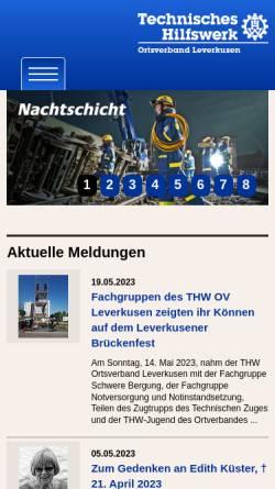 Vorschau der mobilen Webseite www.thw-leverkusen.de, THW Ortsverband Leverkusen