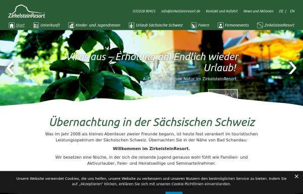 Vorschau von www.zirkelsteinresort.de, ZirkelsteinResort in der Sächsischen Schweiz