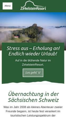 Vorschau der mobilen Webseite www.zirkelsteinresort.de, ZirkelsteinResort in der Sächsischen Schweiz