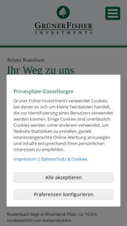 Vorschau der mobilen Webseite www.gruener-fisher.de, Grüner Fisher Investments GmbH