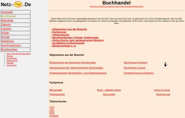 Vorschau von www.netz-tipp.de, Netz-Tipp: Buchhandel