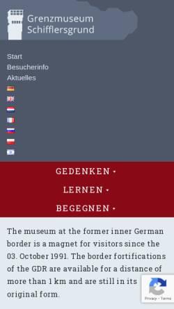 Vorschau der mobilen Webseite www.grenzmuseum.de, Das hessisch-thüringische Grenzmuseum Schifflersgrund