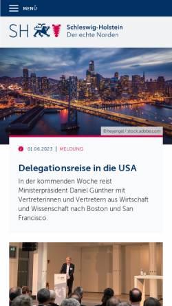 Vorschau der mobilen Webseite www.schleswig-holstein.de, Landesregierung Schleswig-Holstein