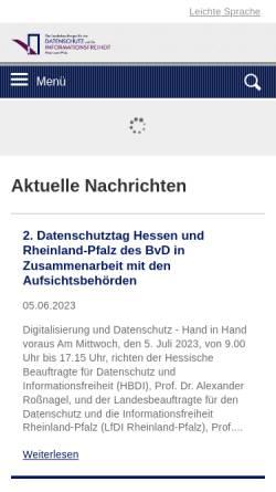 Vorschau der mobilen Webseite www.datenschutz.rlp.de, Der Landesbeauftragte für den Datenschutz Rheinland-Pfalz