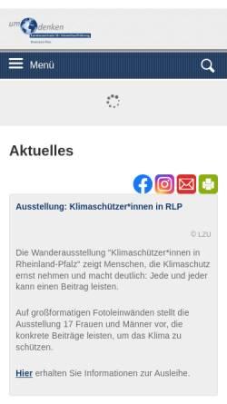Vorschau der mobilen Webseite www.umdenken.de, Landeszentrale für Umweltaufklärung (LZU)