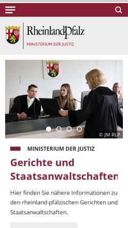 Vorschau der mobilen Webseite www.mjv.rlp.de, Ministerium der Justiz