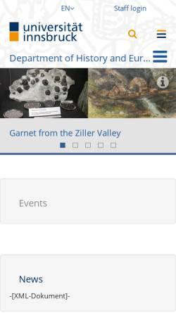 Vorschau der mobilen Webseite www.uibk.ac.at, Uni Innsbruck - Institut für Geschichte und Ethnologie