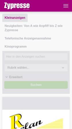 Vorschau der mobilen Webseite zypresse.com, Zypresse