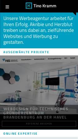 Vorschau der mobilen Webseite www.tinokramm.de, Tino Kramm Kommunikationsdesign