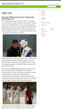 Vorschau der mobilen Webseite www.taekwondo-asv.de, ASV e.V. - Taekwondo Abteilung
