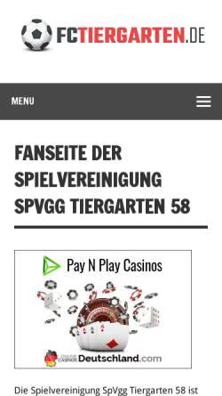 Vorschau der mobilen Webseite www.fctiergarten.de, Fußball Club Tiergarten