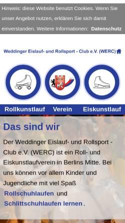 Vorschau der mobilen Webseite www.werc-berlin.de, Weddinger Eislauf- und Rollsport Club e.V.