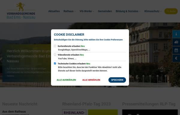 Vorschau von www.bad-ems.de, Stadt und Verbandsgemeinde Bad Ems