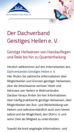 Vorschau der mobilen Webseite www.dgh-ev.de, Dachverband Geistiges Heilen