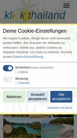 Vorschau der mobilen Webseite www.klick-thailand.de, Thailand Reiseführer - Städte Inseln Ausflüge