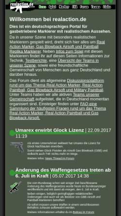 Vorschau der mobilen Webseite www.realaction.de, Real Action Marker Portal