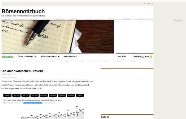 Vorschau von www.boersennotizbuch.de, Boersennotizbuch
