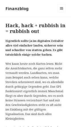 Vorschau der mobilen Webseite finanzblog.ch, Finanzblog