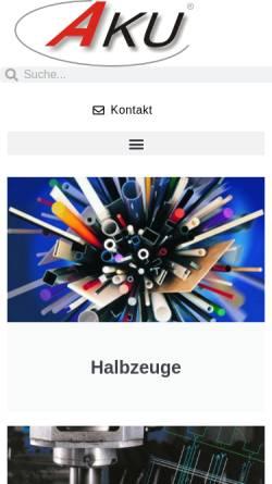 Vorschau der mobilen Webseite www.akuplastics.com, Ahlborn Kunststoffe