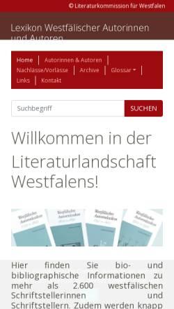 Vorschau der mobilen Webseite www.lwl.org, Lexikon Westfälischer Autoren und Autorinnen 1750-1950