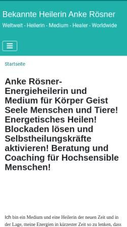 Vorschau der mobilen Webseite www.anke-roesner-heilerin.de, Heilerin und Medium Anke Rösner-Schürmann