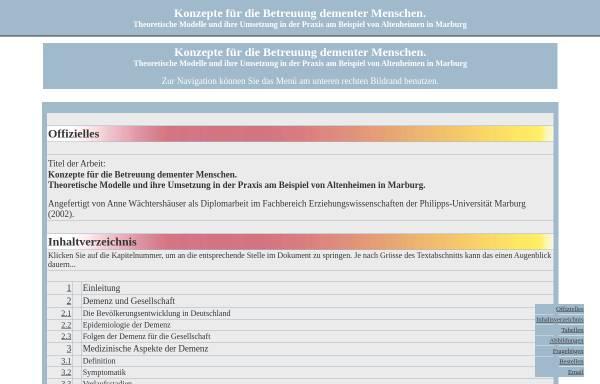 Vorschau von www.we-serve-you.de, Konzepte für die Betreuung dementer Menschen