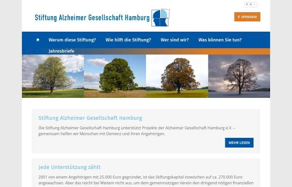 Vorschau von www.stiftung-alzheimer.de, Stiftung Alzheimer Gesellschaft Hamburg