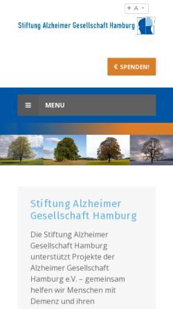 Vorschau der mobilen Webseite www.stiftung-alzheimer.de, Stiftung Alzheimer Gesellschaft Hamburg