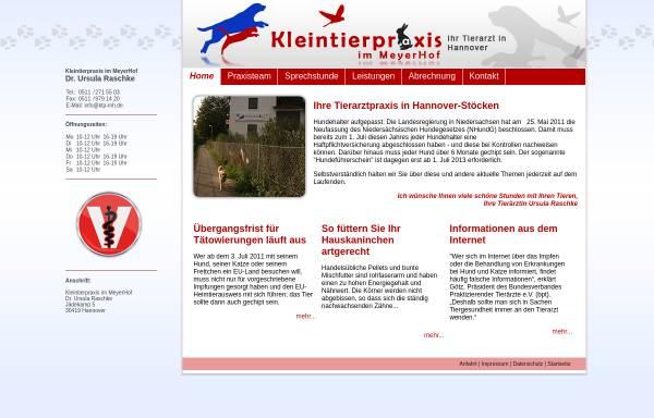 Vorschau von www.kleintierpraxis-im-meyerhof.de, Kleintierpraxis im Meyerhof - Dr. Ursula Raschke
