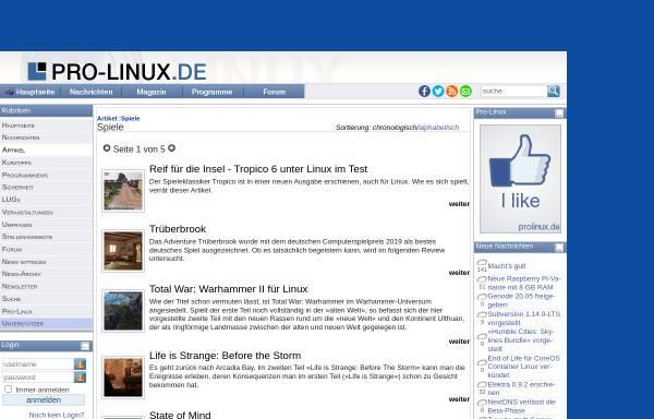 Vorschau von www.pro-linux.de, Pro-Linux: Spiele für Linux