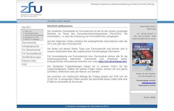 Vorschau von www.zfu.de, Staatliche Zentralstelle für Fernunterricht (ZFU)