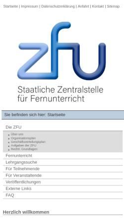 Vorschau der mobilen Webseite www.zfu.de, Staatliche Zentralstelle für Fernunterricht (ZFU)
