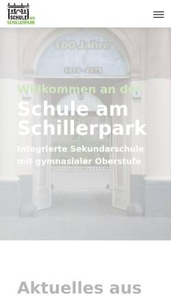 Vorschau der mobilen Webseite www.schule-am-schillerpark.de, Schulstandort am Schillerpark