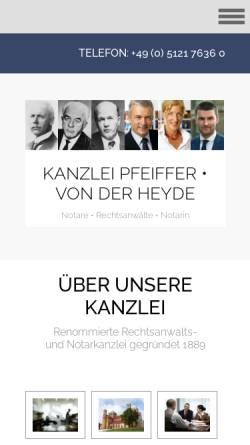 Vorschau der mobilen Webseite www.pfeiffer-recht.de, Pfeiffer   Von der Heyde