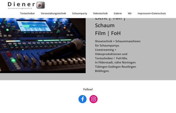 Vorschau von www.dienervt.de, Diener Veranstaltungstechnik und Schaummaschinen