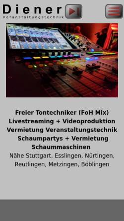 Vorschau der mobilen Webseite www.dienervt.de, Diener Veranstaltungstechnik und Schaummaschinen