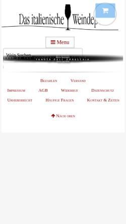 Vorschau der mobilen Webseite www.gerardo.de, Das italienische Weindepot