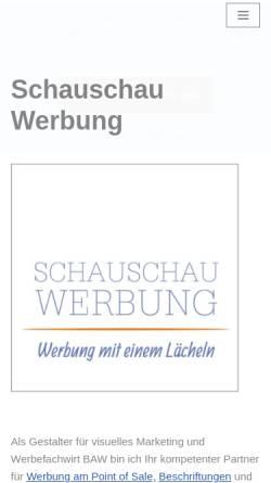 Vorschau der mobilen Webseite www.schauschau-werbung.de, Schauschau Werbung Inh. Wolfgang Schröpfer