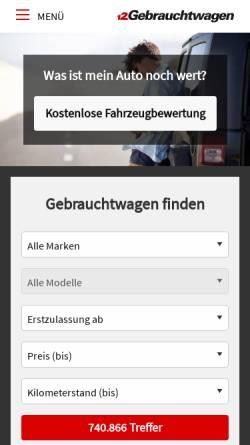 Vorschau der mobilen Webseite www.gebrauchtwagen.de, Gebrauchtwagen.de