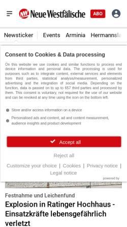 Vorschau der mobilen Webseite www.nw-news.de, Neue Westfälische