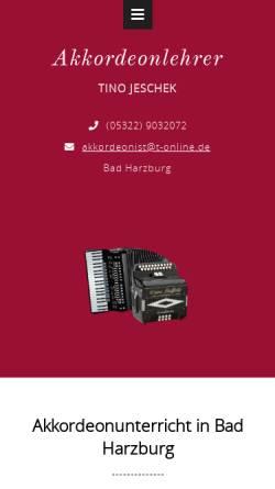 Vorschau der mobilen Webseite www.akkordeonunterricht.com, Akkordeon-Unterricht in Bad Harzburg & Lehrer für Steirische Harmonika, Club-Harmonika