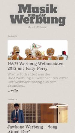 Vorschau der mobilen Webseite musik-aus-der-werbung.de, Musik aus der Werbung
