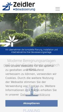 Vorschau der mobilen Webseite www.zeidler-bewaesserung.de, Zeidler Gartenbewässerung, Heike Zeidler