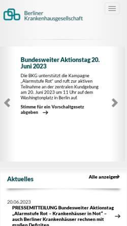 Vorschau der mobilen Webseite www.bkgev.de, Berliner Krankenhausgesellschaft e.V.
