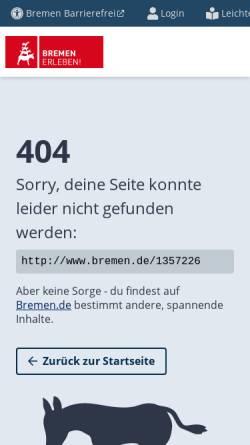 Vorschau der mobilen Webseite www.bremen.de, Bremer Flagge und Wappen