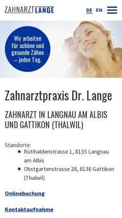 Vorschau der mobilen Webseite www.zahnarzt-lange.ch, Dr. med. dent. Andreas Lange