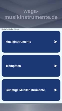 Vorschau der mobilen Webseite wega-musikinstrumente.de, Wega Merchant Development GmbH
